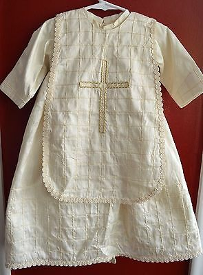Vintage Christening Gown Infant Boy Or Girl Creme Ivory Full Tulle Skirt