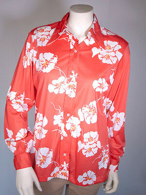 VTG 60s Antron VERA Neumann Red White Floral Pop Art Signed SHIRT M/L MINT