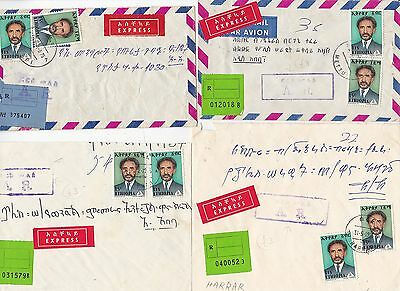 * 1975 ETHIOPIA x 4 EXPRESS COVERS & ADVICE OF RECEIPT INSTRUCTIONAL POSTMARKS