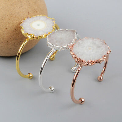 HOT! Flower Natural Solar Quartz Slice Copper Metal Open Bangle DIY NEW HG1253