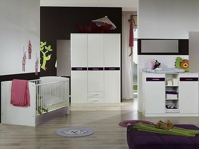 babyzimmer nicki 7 teilig komplettset schrank bett. Black Bedroom Furniture Sets. Home Design Ideas