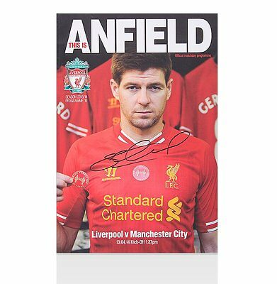 Steven Gerrard Signed Programme - This Is Anfield Liverpool v Manchester City 13