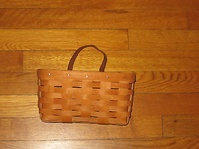 Longaberger Basket 1995 Leather Handle With Wall Hanger Excellent Condition