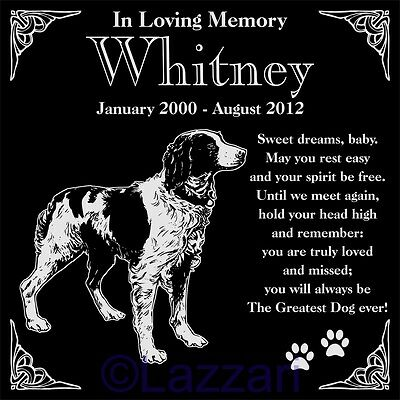 Personalized Brittany Pet Memorial 12x12 Engraved Granite Grave Marker Headstone