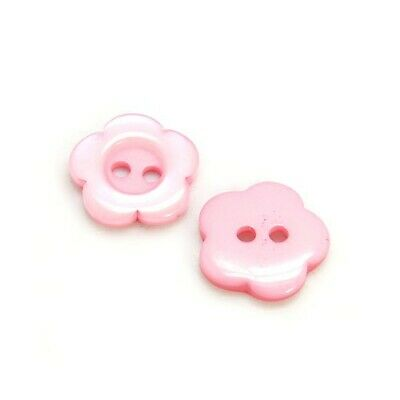 Packet 20 x Pink Resin 15mm Flower 2-Holed Sew On Buttons HA14290
