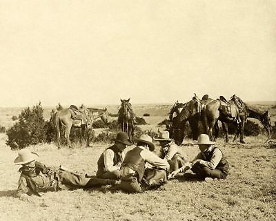 Old West Cowboys Relaxing on the Ranch 1906 11x14 Silver Halide Photo Print