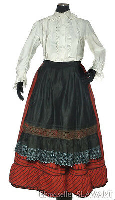 ANTIQUE Czech clothing Bohemian old red skirt apron blouse folk costume French