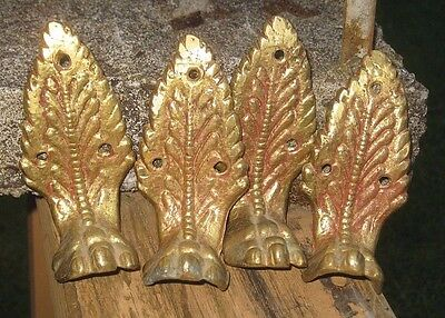 Lot of 4 Vintage Solid Brass Ornate Lion Claw Foot Pieces Refurbish Parts