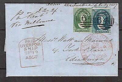 "Tasmania #5 - #6 Used On Lovely Cover To Scotland Tied By Barred ""64"" Cancel"