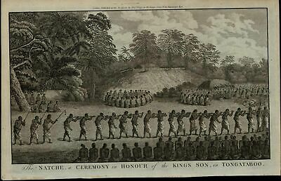 Ceremony for King's Son Tongataboo ca. 1780's fascinating old engraved print