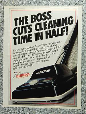 1989 Eureka The Boss Upright Vacuum Cleaner - Vintage Magazine Ad Page
