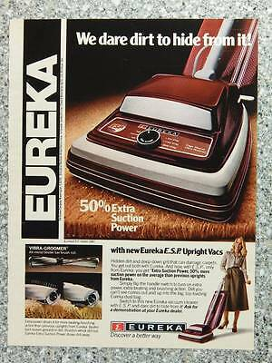 1979 Eureka Vacuum Cleaners - Vintage Magazine Ad Page - E.S.P. Upright Vacuums