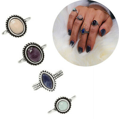 4Pcs/Set Bohemian Vintage Fashion Women Stone Finger Knuckle Rings Set Jewelry