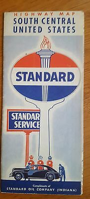 Vintage 1940's STANDARD OIL Highway ROAD Map GAS STATION Southern US States