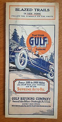 GULF REFINING CO. Vintage 1920's BLAZED TRAILS In NEW YORK Road Map #3
