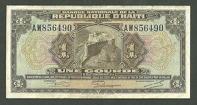 Currency Paper Money Note Republic Of Haiti One Gourde  Pick 178A April 21 1919