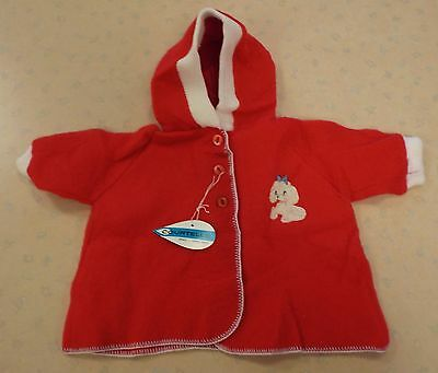 VINTAGE 1970s UNWORN POODLE APPLIQUE BABY COAT RED FLEECE 6-9 MONTHS