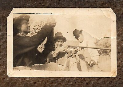 "Target Practice with Old Bess the Shotgun ~ Vintage Photo  3"" x 4 1/2"""
