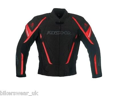 RICHA Cage Black / RED  Waterproof Vented Textile Motorcycle Jacket