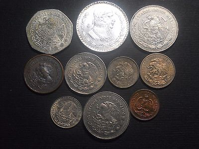 3360 - Mexico - Ten Different Coins Dtd 1941 To 1986 With Silver
