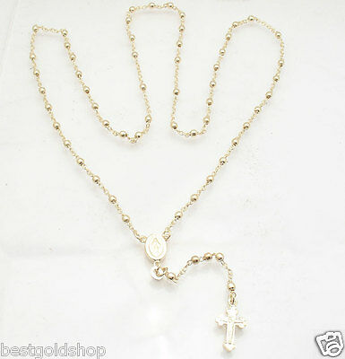 """24"""" 3mm Technibond Rosary Chain Necklace 14K Yellow Gold Clad Sterling Silver"""