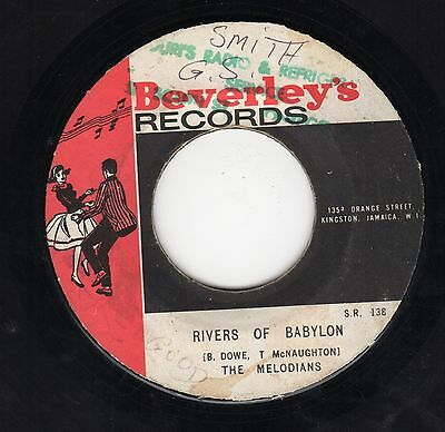 """ RIVERS OF BABYLON. "" the melodians. BEVERLEY'S RECORDS 7in 1970."