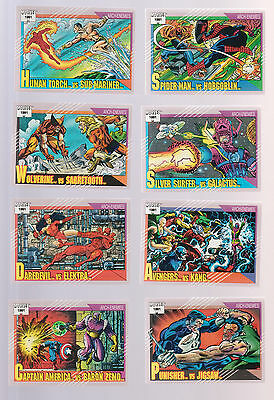 Lot of 8 Marvel 1991 trading cards Spider-Man Wolverine Avengers Punisher Jigsaw