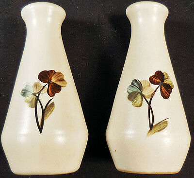 Stoneware salt & pepper shakers with hand-painted flowers - MADE IN ENGLAND
