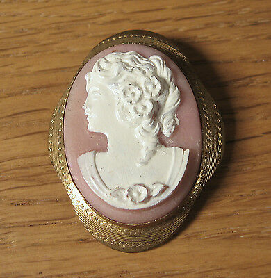 Vintage Plastic Cameo Pin Brooch Victorian Style Woman Gold Tone Painted Accents