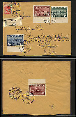 Austria  382-384  registered first  day cover  1937       MS0314