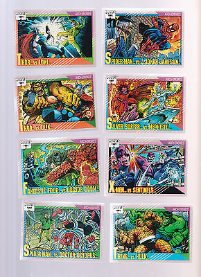 Lot of 8 Marvel trading cards Published 1991 Spider-Man Thor Loki Thing