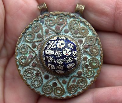 Spectacular Very Old Ornate Bronze & Phoenician Glass With Faces Pendant