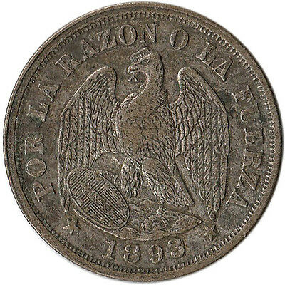 1893 Chile 20 Centavos Silver Coin KM#138.4