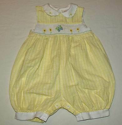 Carters Baby Girls Yellow Seersucker Smocked Bubble Romper Size 3-6 Months