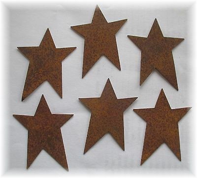 """12 Primitive Rusty Tin Stars- 2.50"""" inch Craft Supplies Scrapbooking Whimsical"""