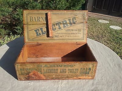 Rare Antique 19Th Century Barnes Electric Laundry And Toilet Soap Wooden Crate