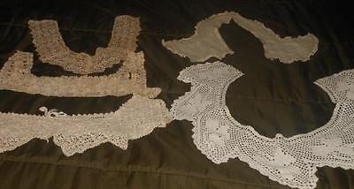 Lot of 5 Antique Crocheted Lace Cotton Collars & Nightie Chemise Tops