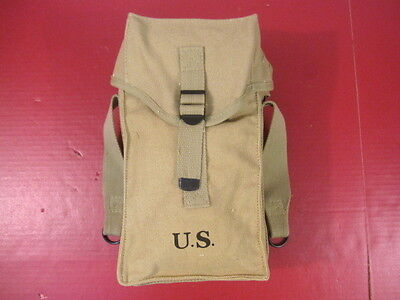 WWII Era US Army M1 Canvas Ammunition Bag or Ammo Pouch - Dated 1942 - Repro