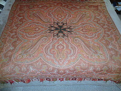 Antique Paisley Cloth Fabric Shawl Estate Textile 64""