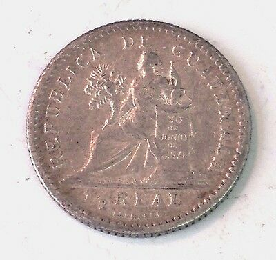 1894-H Guatemala 1/2 Real silver coin, seated justice, KM# 165