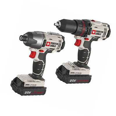 Tool 2 Ion Combo Kit Drill Lithium Cordless Impact Driver Porter Cable 20-Volt