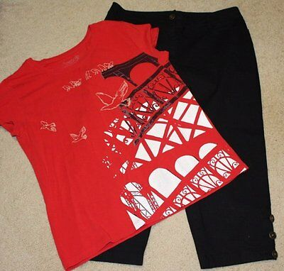 Chico's Size 2 Lot Black Capri Cropped Pant 12 Red White T Shirt Top Large