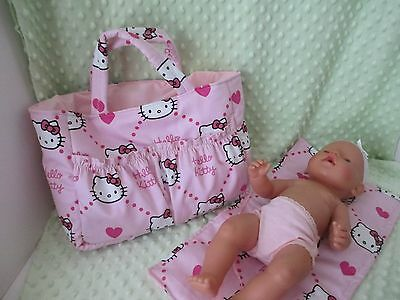 "Dolls Nappy Bag & Change pad, "" Hello Kitty  Pink """