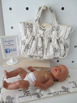 "Dolls Nappy Bag & Change pad, "" Griffa Creame """