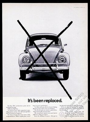 1968 VW Volkswagen Beetle classic car photo It's Been Replaced 11x8 print ad