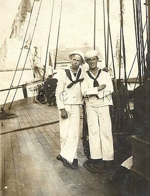 WWI Org Navy French RPPC- Sailor on Board Tall Sailing Ship- Hat- Scarf- Rigging