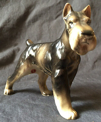 Vintage Porcelain Schnauzer Dog Japan