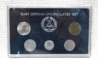 East German Uncirculated 1, 5, 10, 20, 50 Pfennig Coin Set In Case