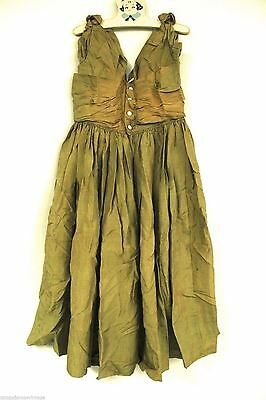 "Antique Dress Girls Green Silk 1870s Large Doll Peg Hanger Huge Skirt 26""Chest"
