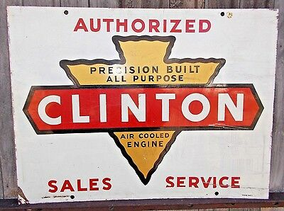 Vintage CLINTON Engines Sign Double Sided Steel MCA 6 6 6